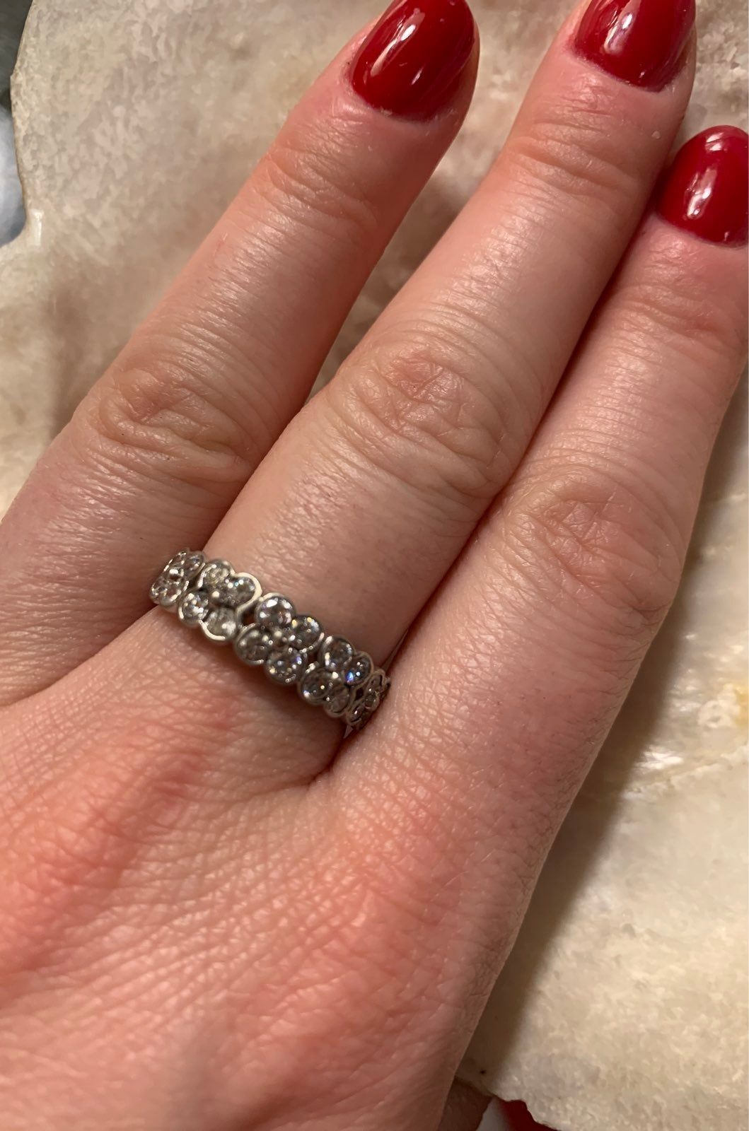 Vintage 925 silver and CZ ring 8.75