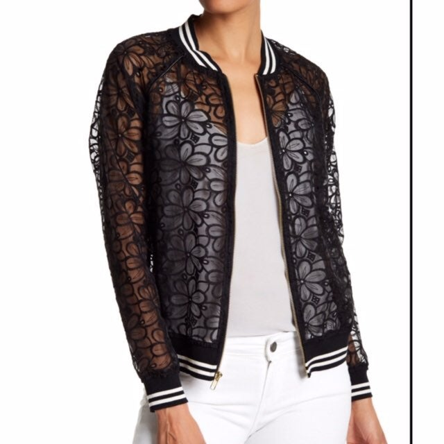 Harlow & Graham Embroidered Lace Bomber