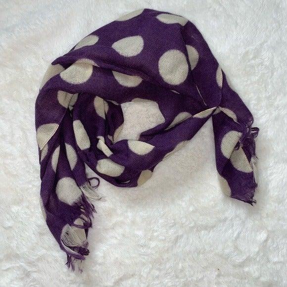 Purple Polkadot Wool Scarf