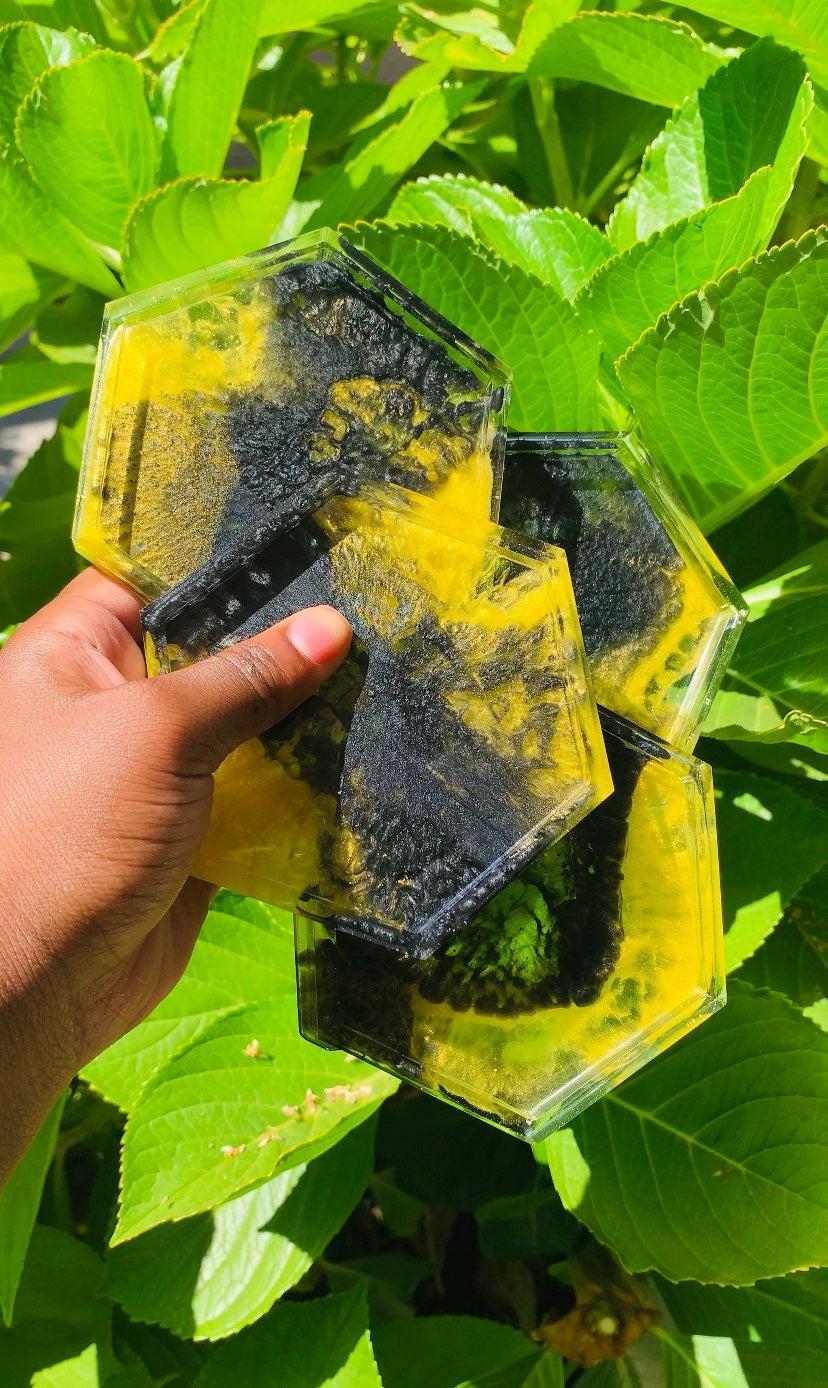Set Of 4 | Handmade Black & Yellow Hexag