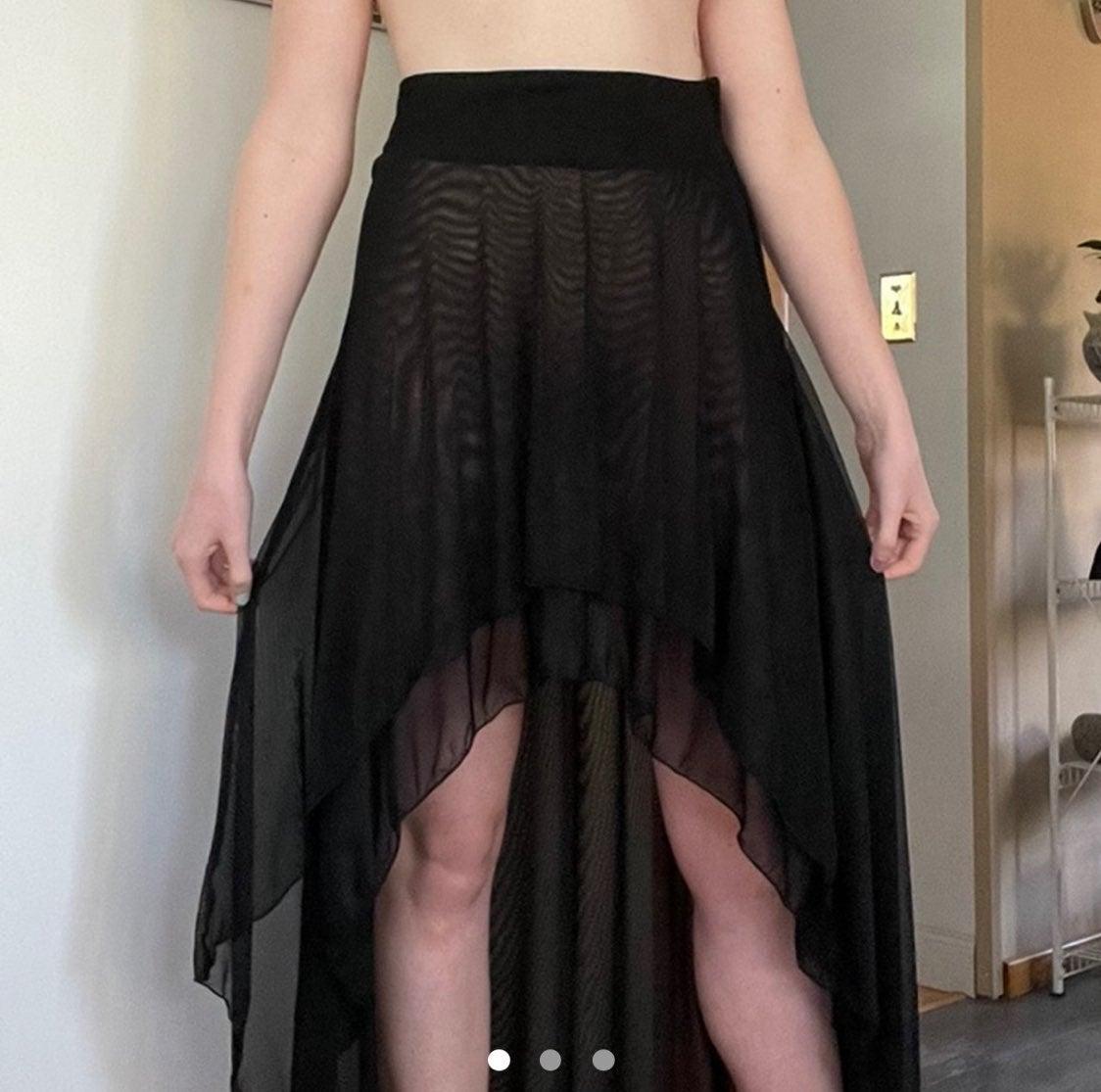 Black Mesh Layer Hi-Lo Skirt