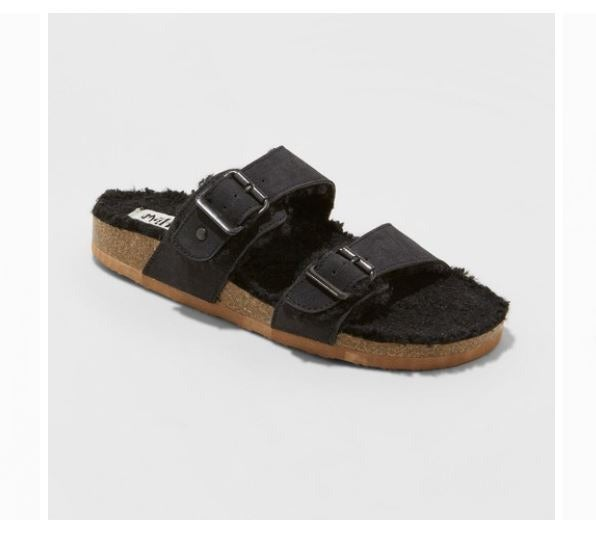 NWT Black Sherpa Footbed Sandals-8