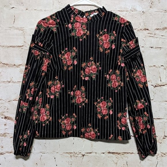 H&M Pin-Striped Top with Floral Design