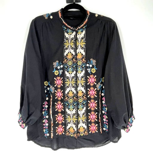 Tolani Embroider Floral Button Down Top