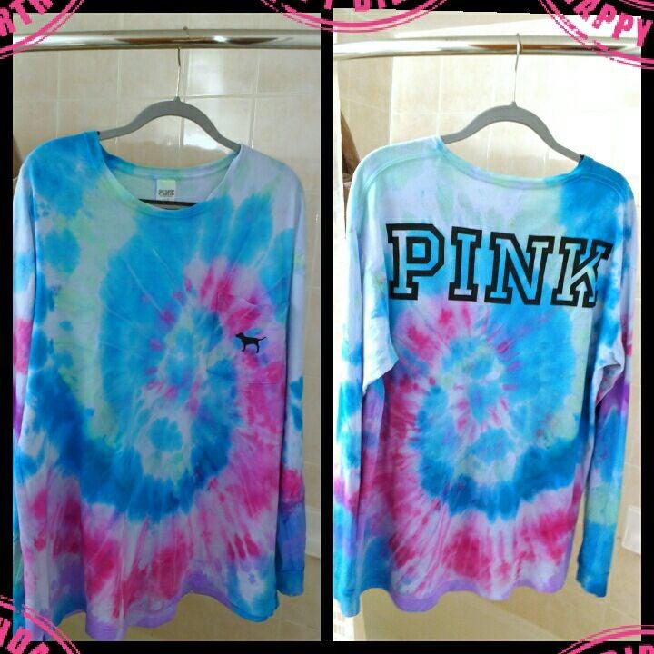 VS PINK TIE DYE logo CAMPUS T-shirt L