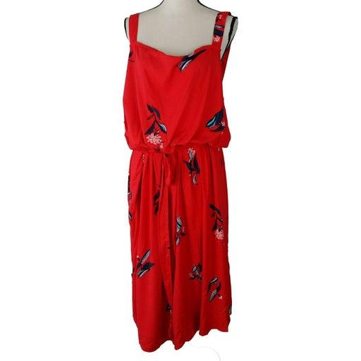 Ava & Viv Dress Womens 4X Red Floral Print Sleeveless Belted Knee Length