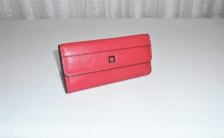 Lodis Red Leather RFID Clutch Wallet