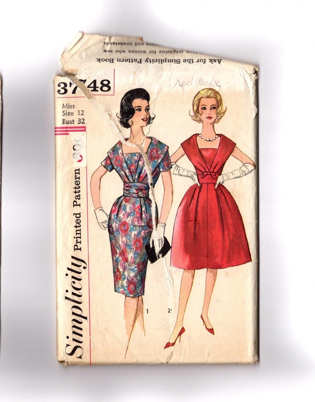 Vintage Pattern 1960s Cocktail Dress