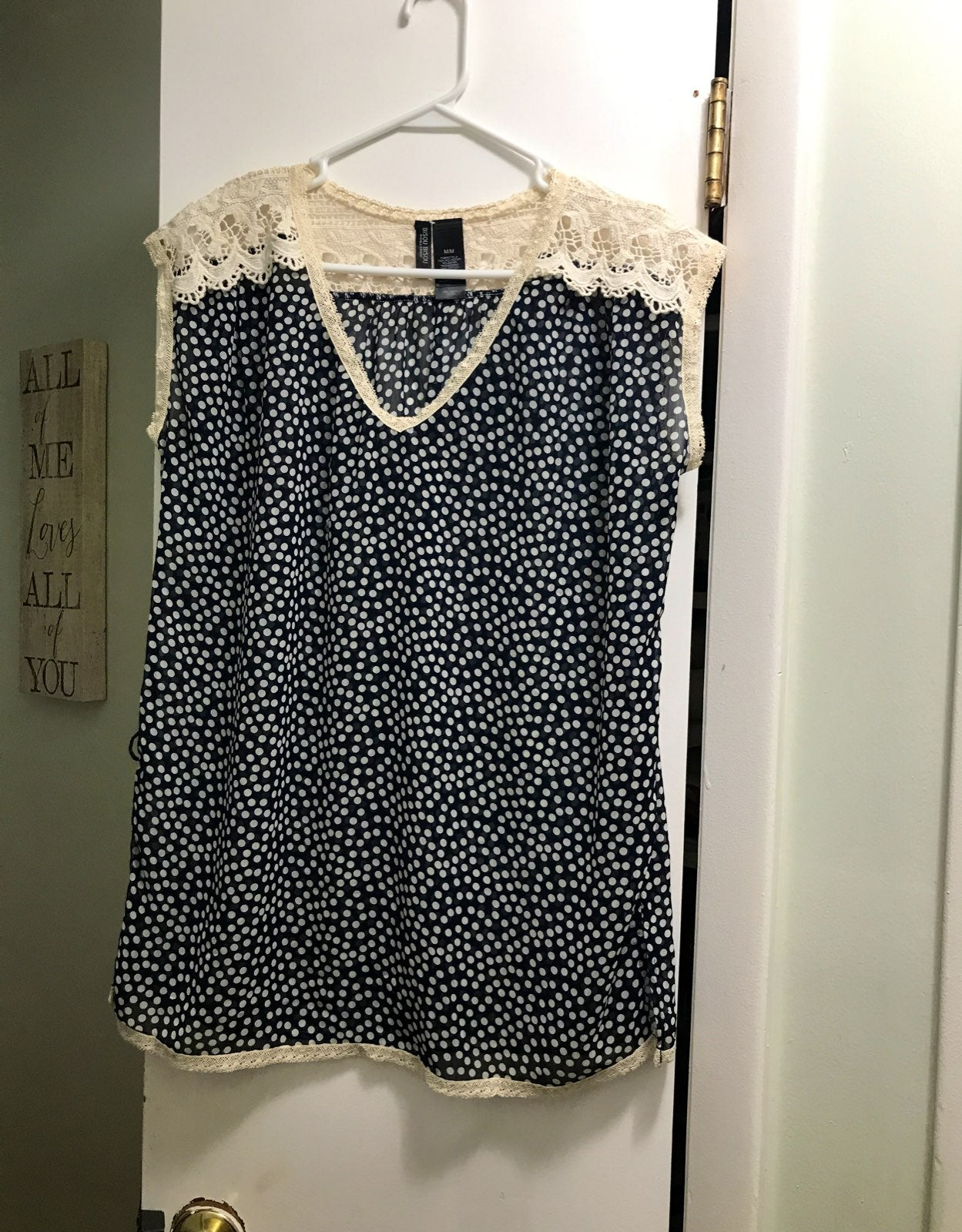Sheer Navy w White polka dot cap sleeve