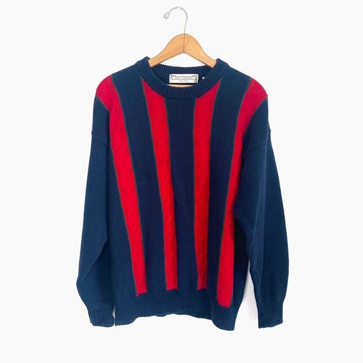 VINTAGE 90's Stripe Cable Knit Sweater