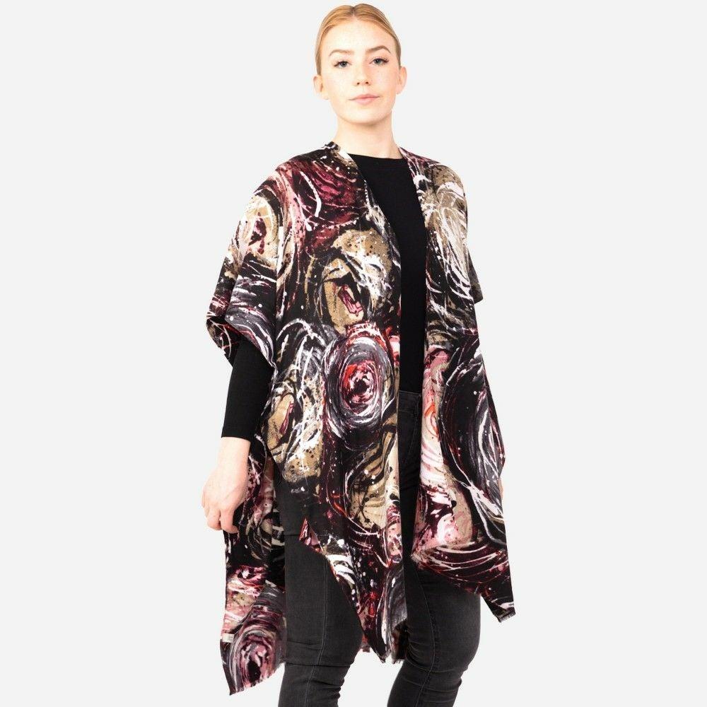 Black Multicolor Swirled Print Kimono