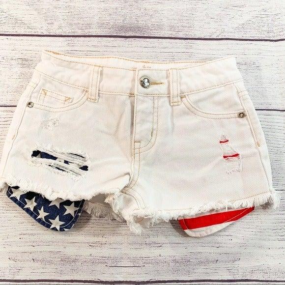 Justice White Shorts American Flag pocke
