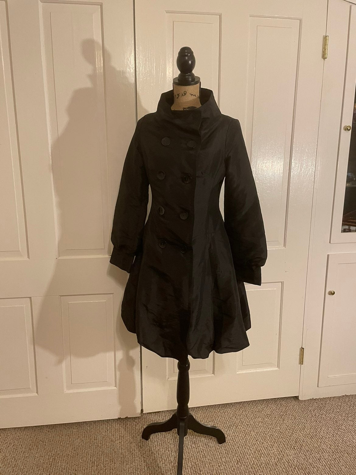 Coffee Shop Black Trench Coat S Small