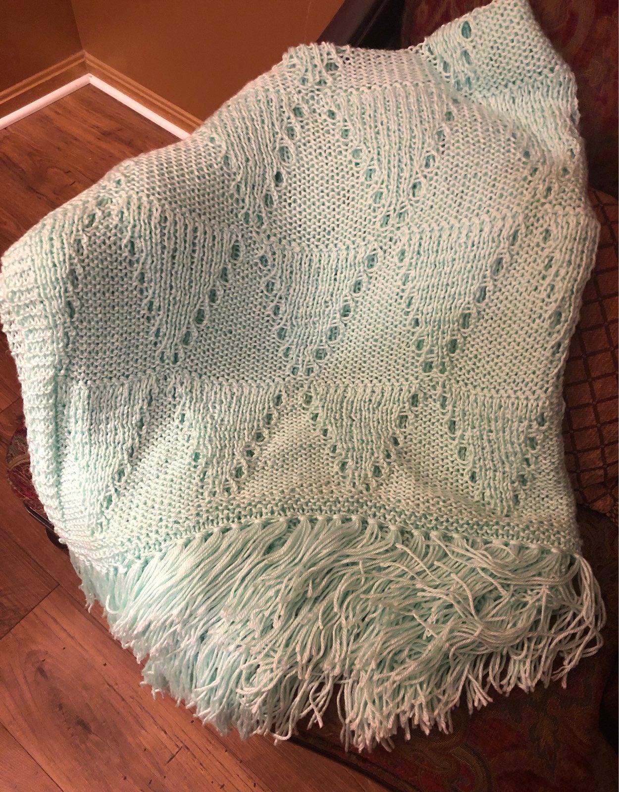 Mint handmade knitted throw