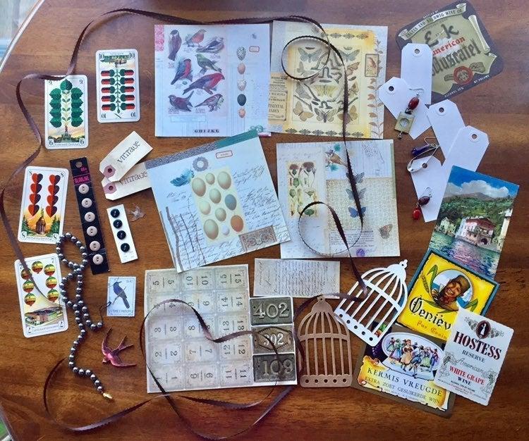 Bird, ephemera , lot , junk journal