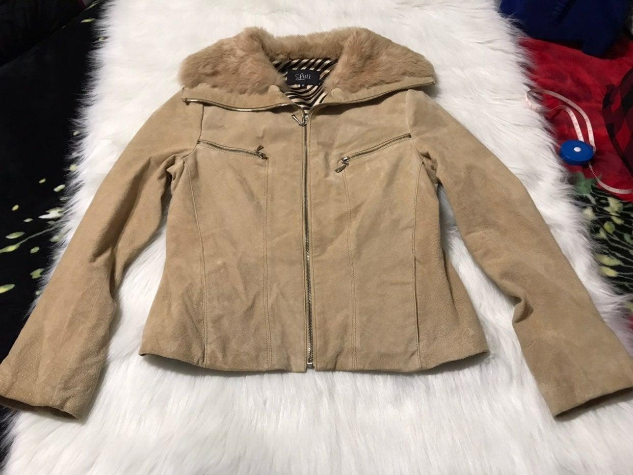 Vintage Luii Suede Fur Tan Jacket