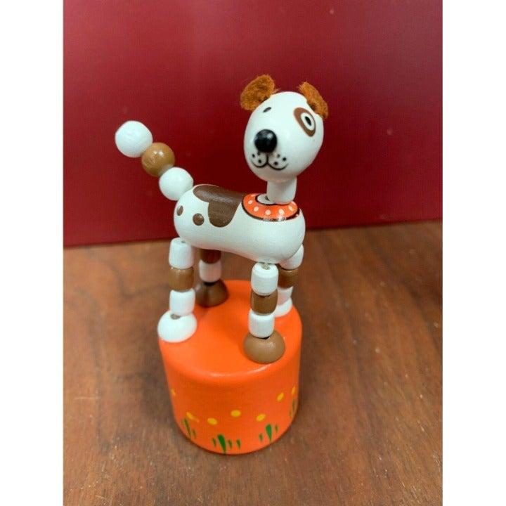Retro Classic Wooden Push Thumb Puppet Toy - Dog / Farm Animal