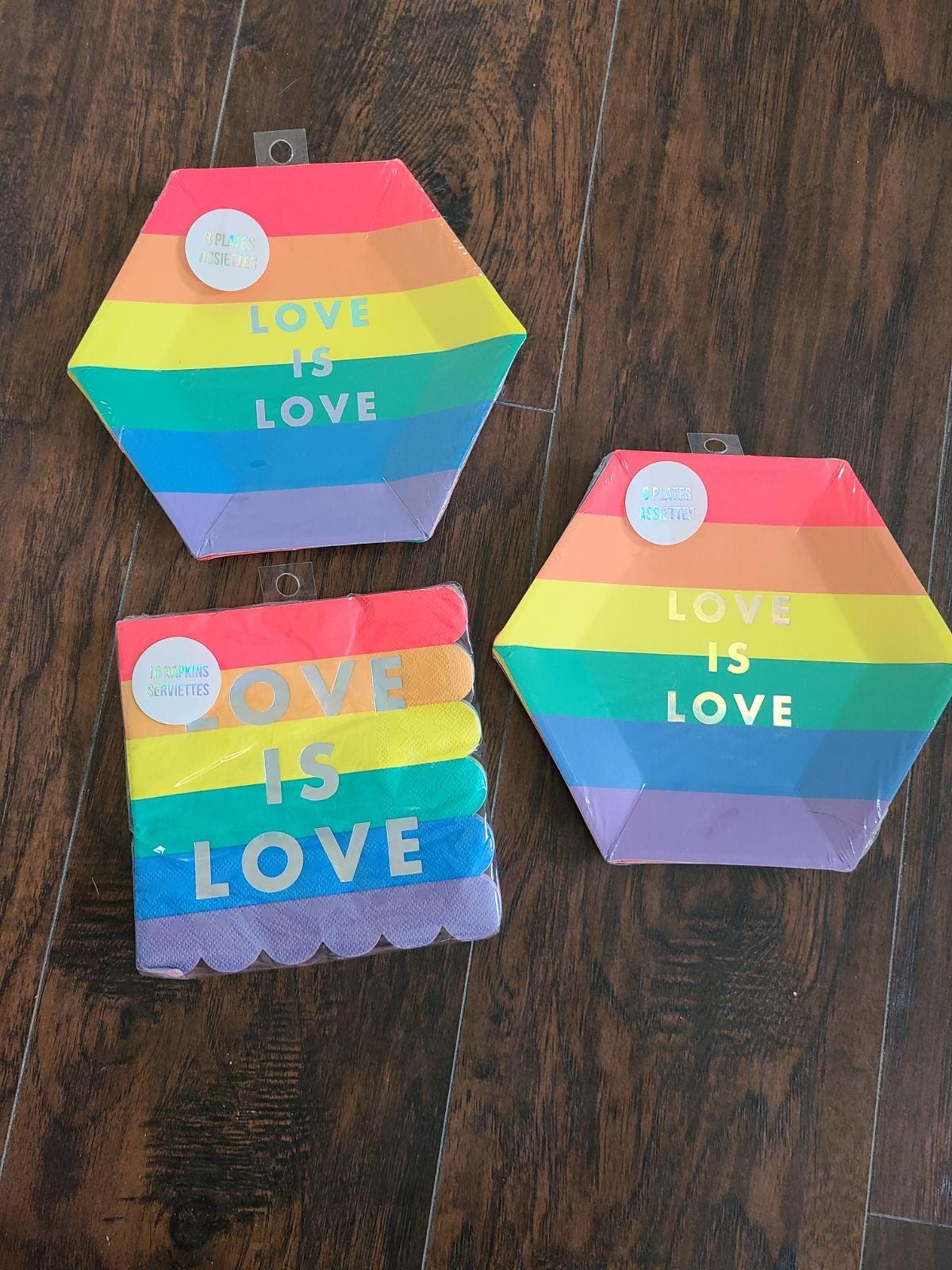 PRIDE Love is Love Meri Meri Party Plate