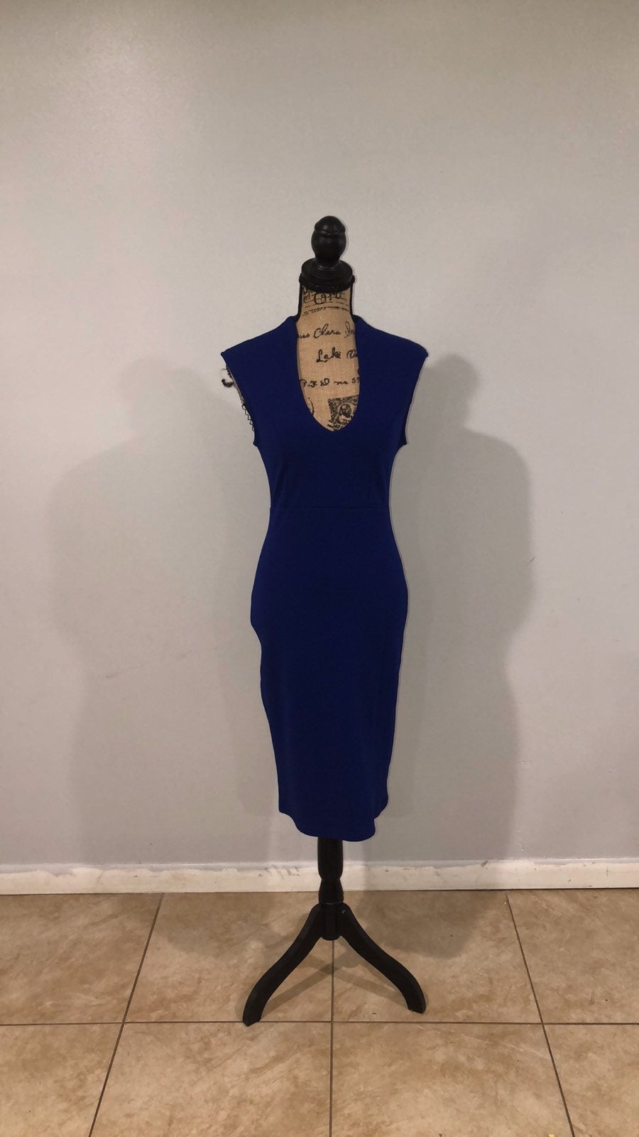 Blue and gold bodycon dress