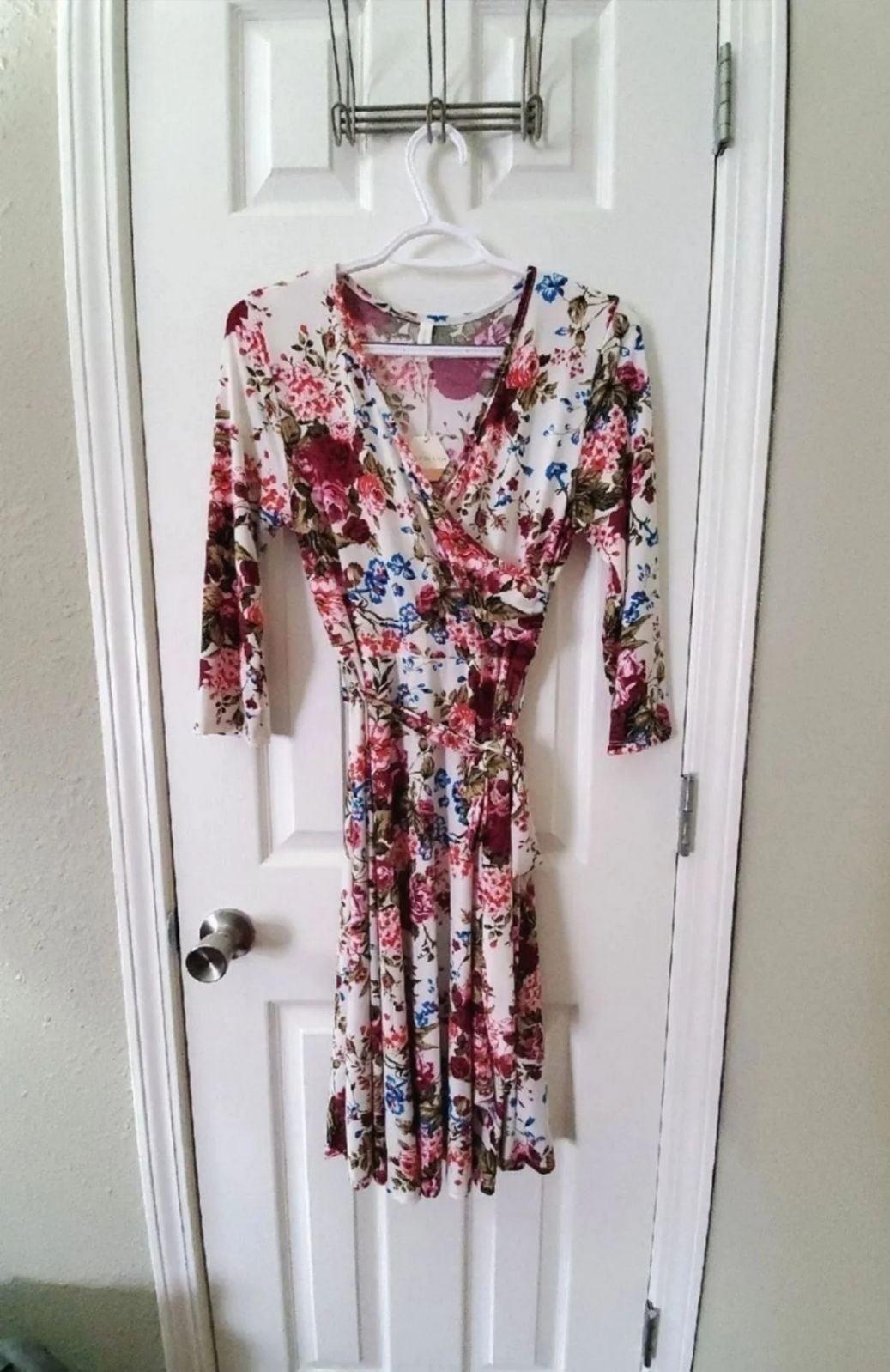 Pinkblush Small White Floral Wrap Dress