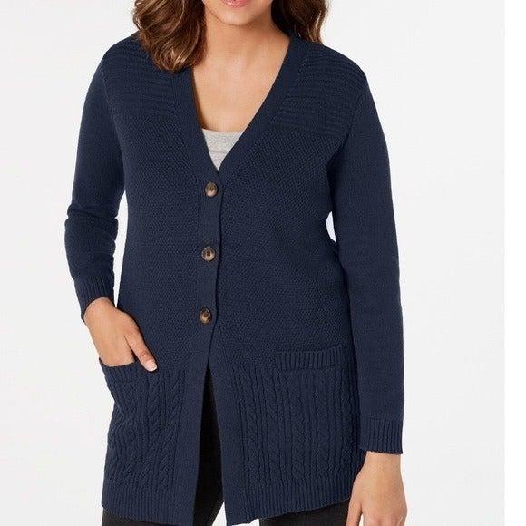 Karen Scott button cardigan intrepid blue