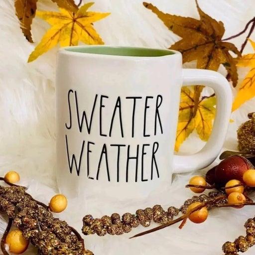 ♡Rae Dunn Fall/ Autumn/ holiday/ winter SWEATER WEATHER mug! Farmhouse home deco