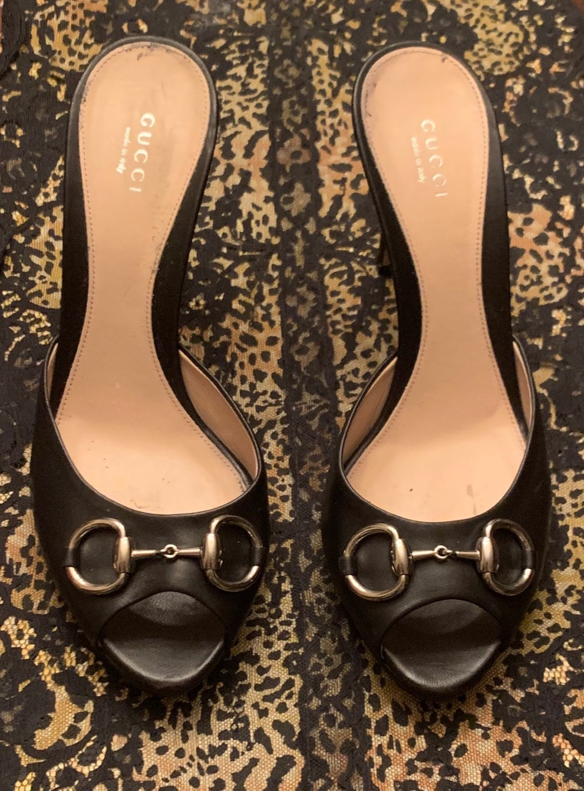 Gucci Black Horsebit Slides/Heels-40
