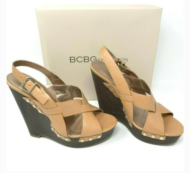 BCBG Kaden slingback open toe wedge sand