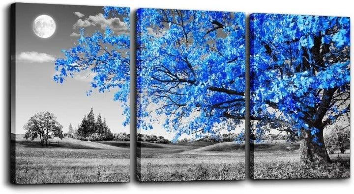 Black, White & Blue Tree Moon Wall Décor