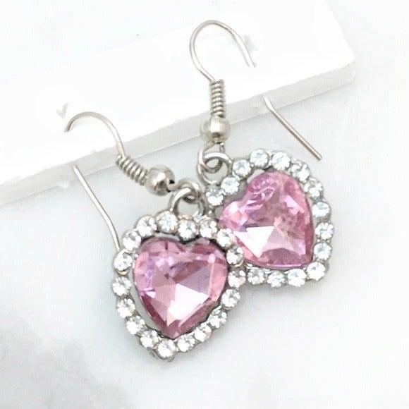 Sweet Pink Crystal Hearts Drop Earrings