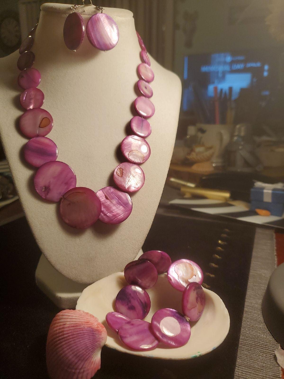 Purple Shell Bracelet Earrings Necklace
