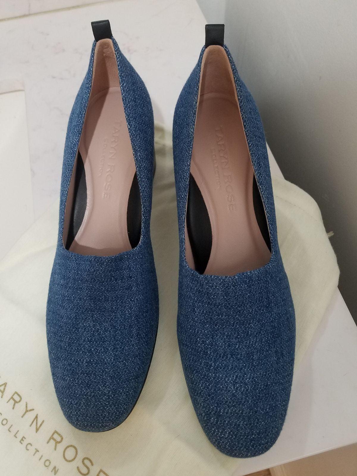 Denim block heels