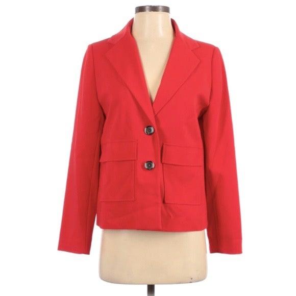 Chico's Red Pocket Front Blazer Jacket S
