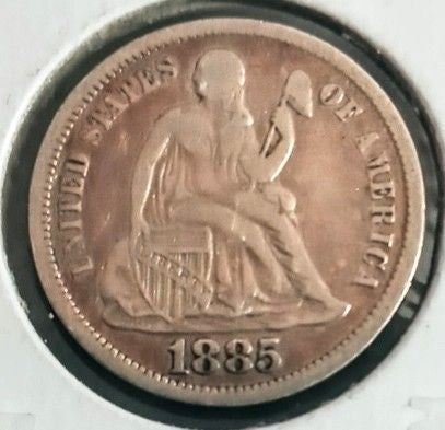 1885 Seated Liberty Dime.