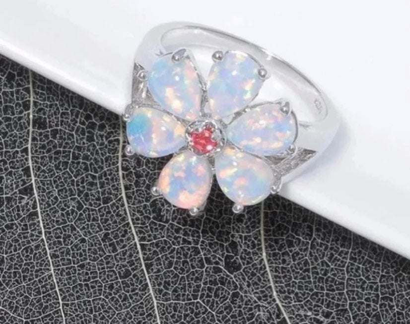Fire Opal Silver Flower Ring