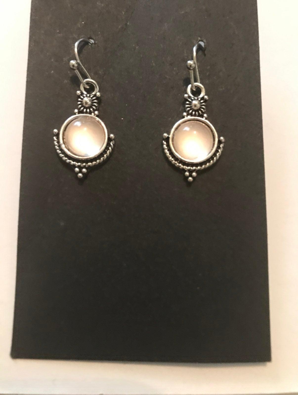 Moonstone pierced earrings