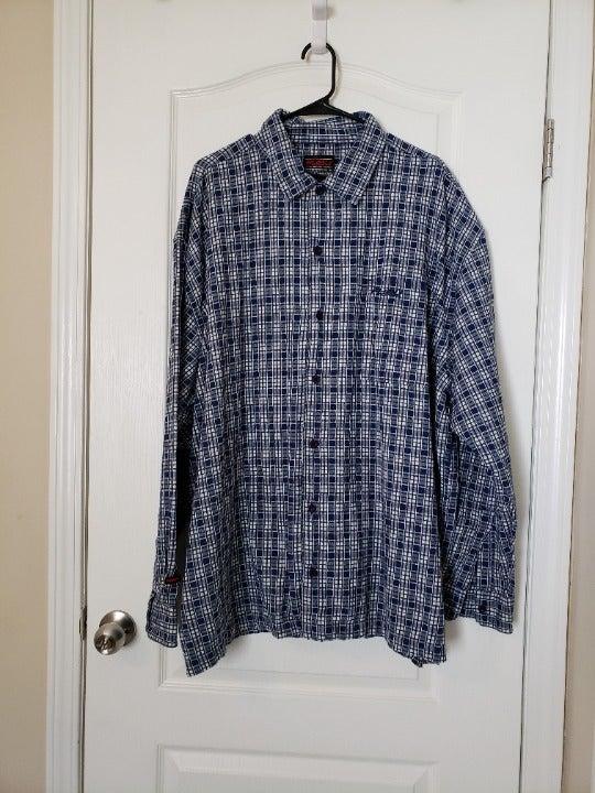 FUBU 4XL Blue Plaid Button Down Shirt