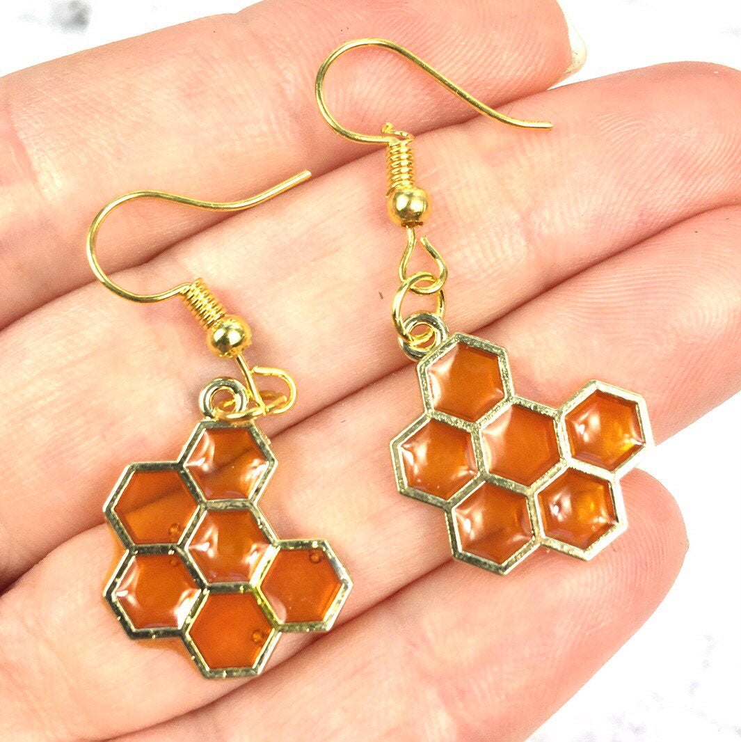 Gold Tone Honeycomb Earrings