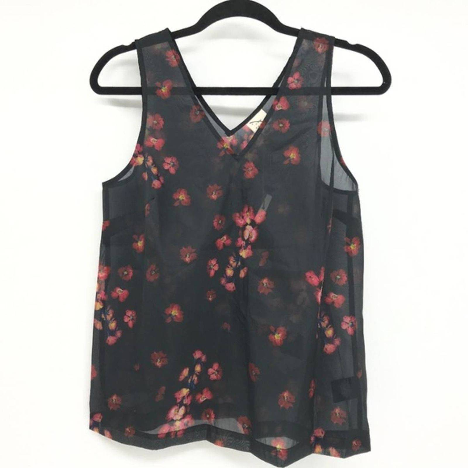 A New Day Sheer Floral Top Size S NWOT