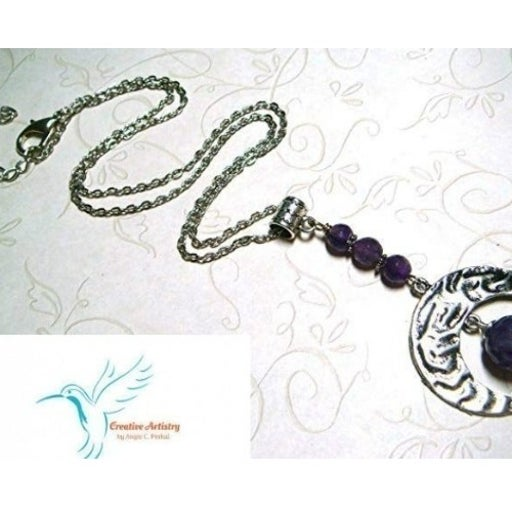 Purple Crystal Amethyst Moon Necklace