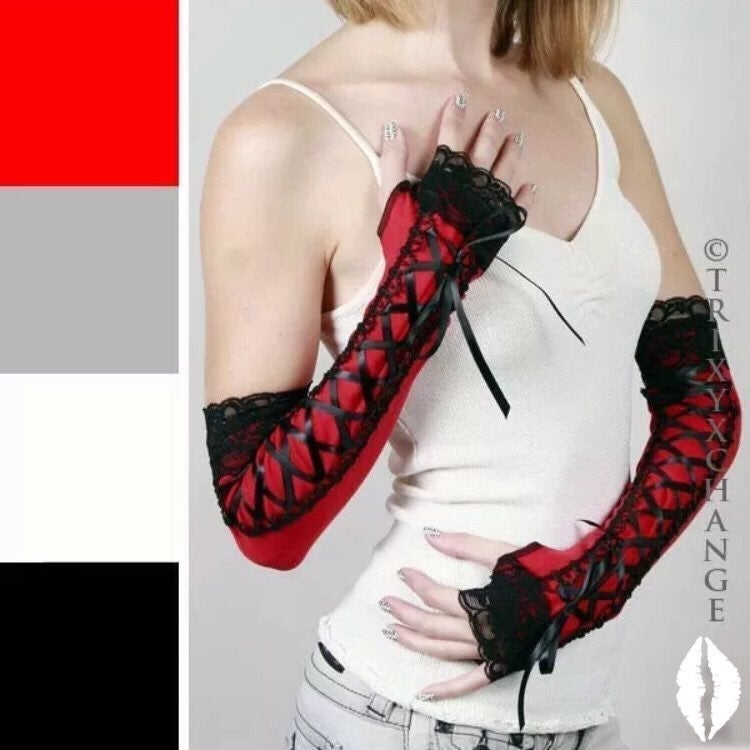 Red Corset Lace Up Gloves Arm Warmers