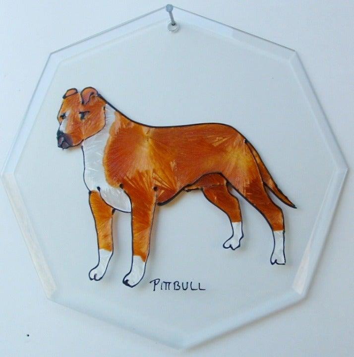Pitt-bull Dog Glass Suncatcher