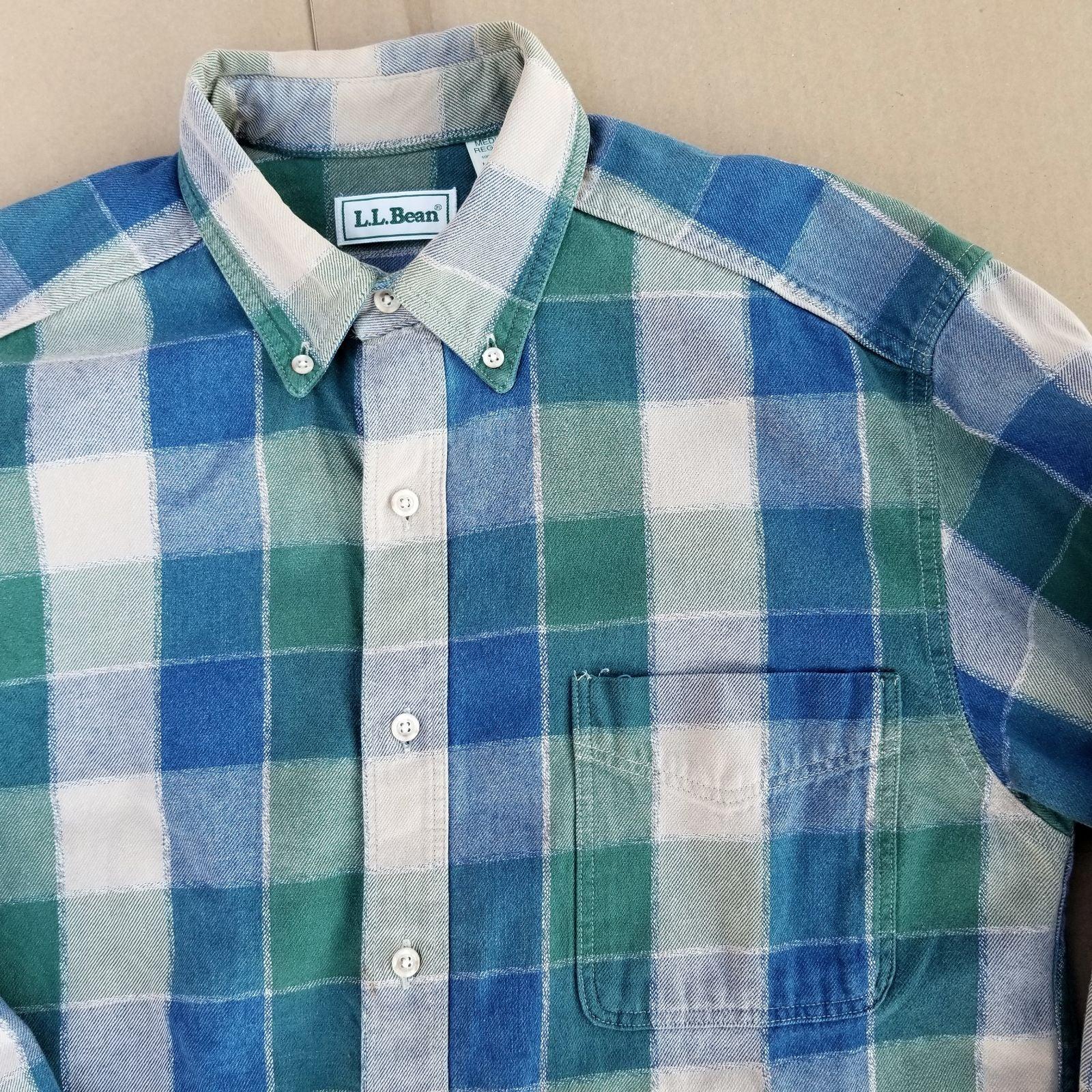 VTG LL Bean Plaid Flannel Button Shirt M