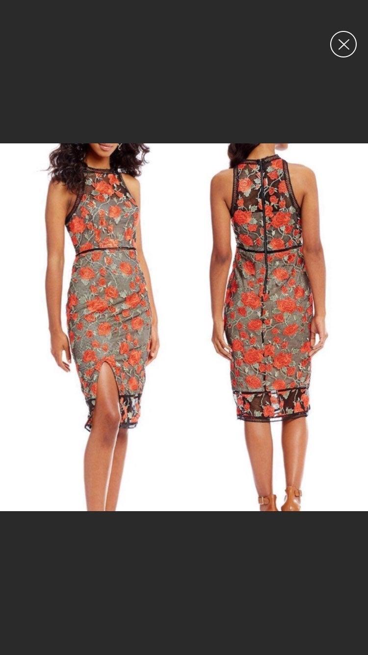 Gianni Bini Rose Embroidered Dress XS