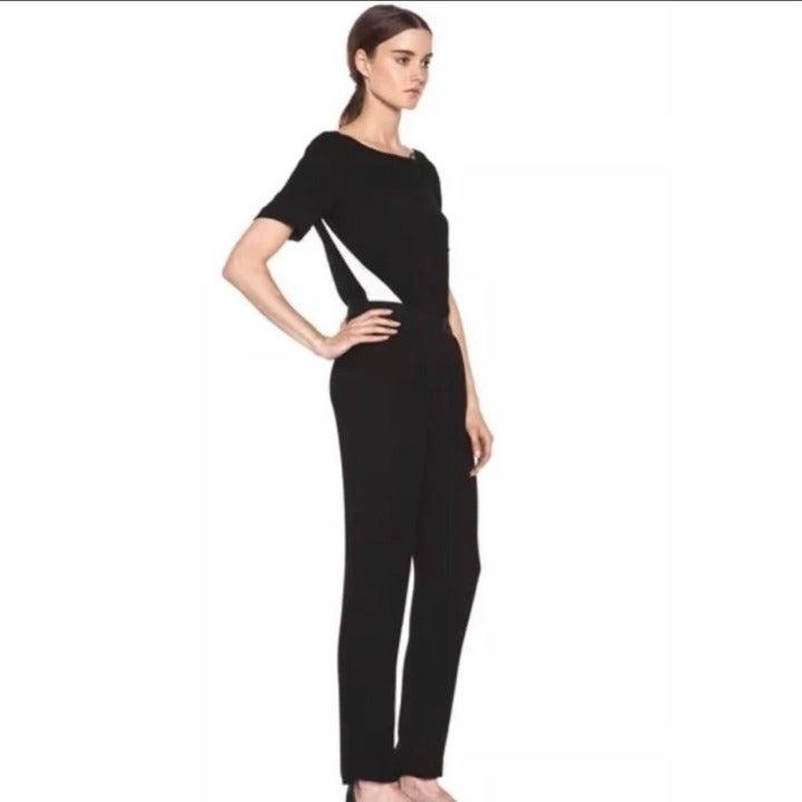 A.L.C Crepe Overlay Jumpsuit Black Sz 0