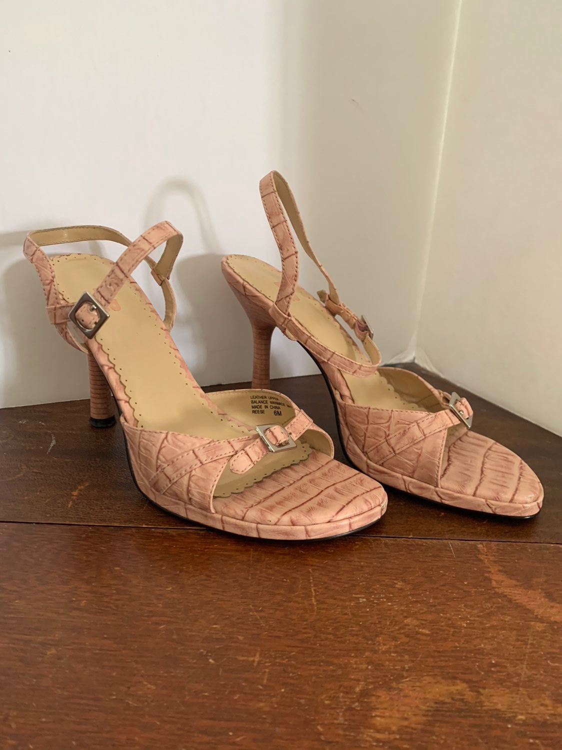 BP pink strappy heeled sandals size 6
