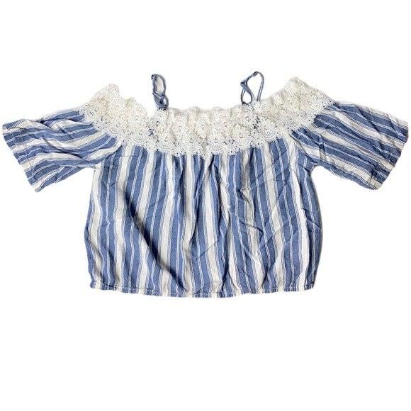 Hollister off shoulder lace striped top