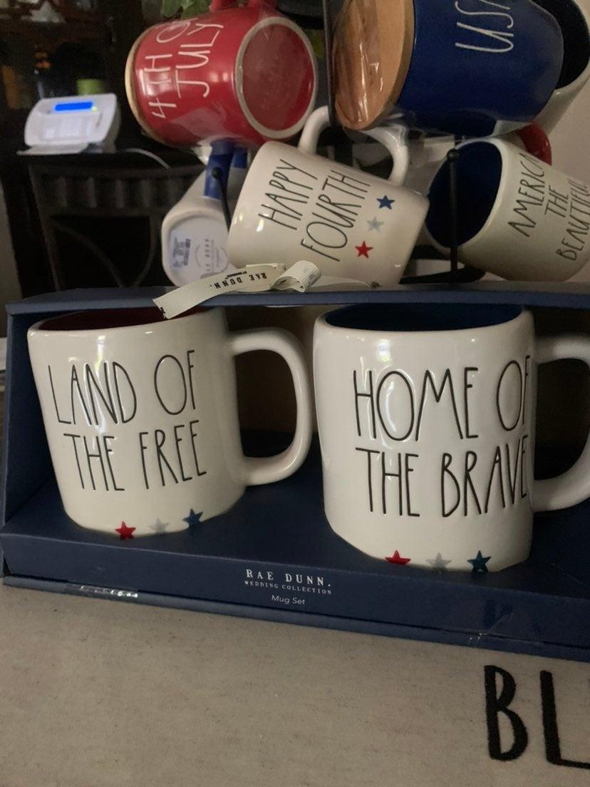 Rae Dunn land of the free mug set