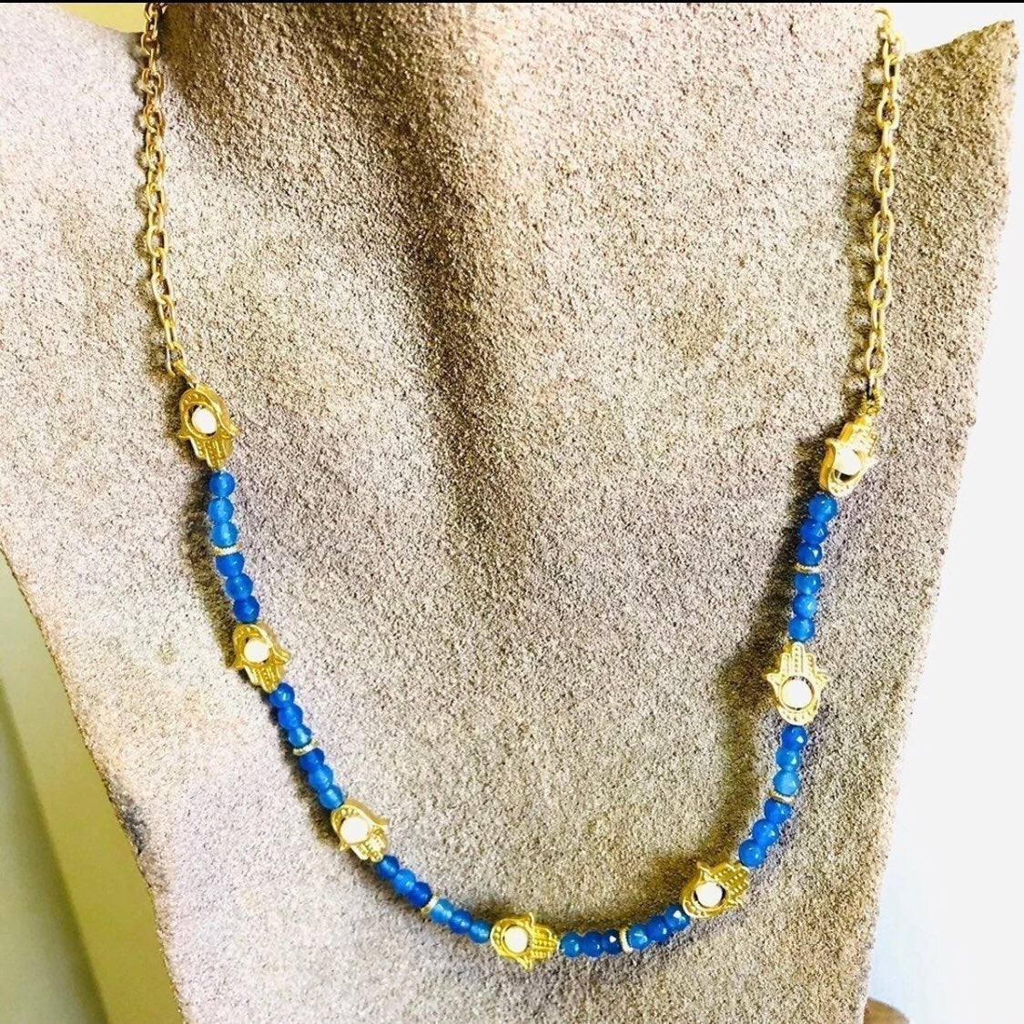 Hamsa Necklace blue with pearl NEW