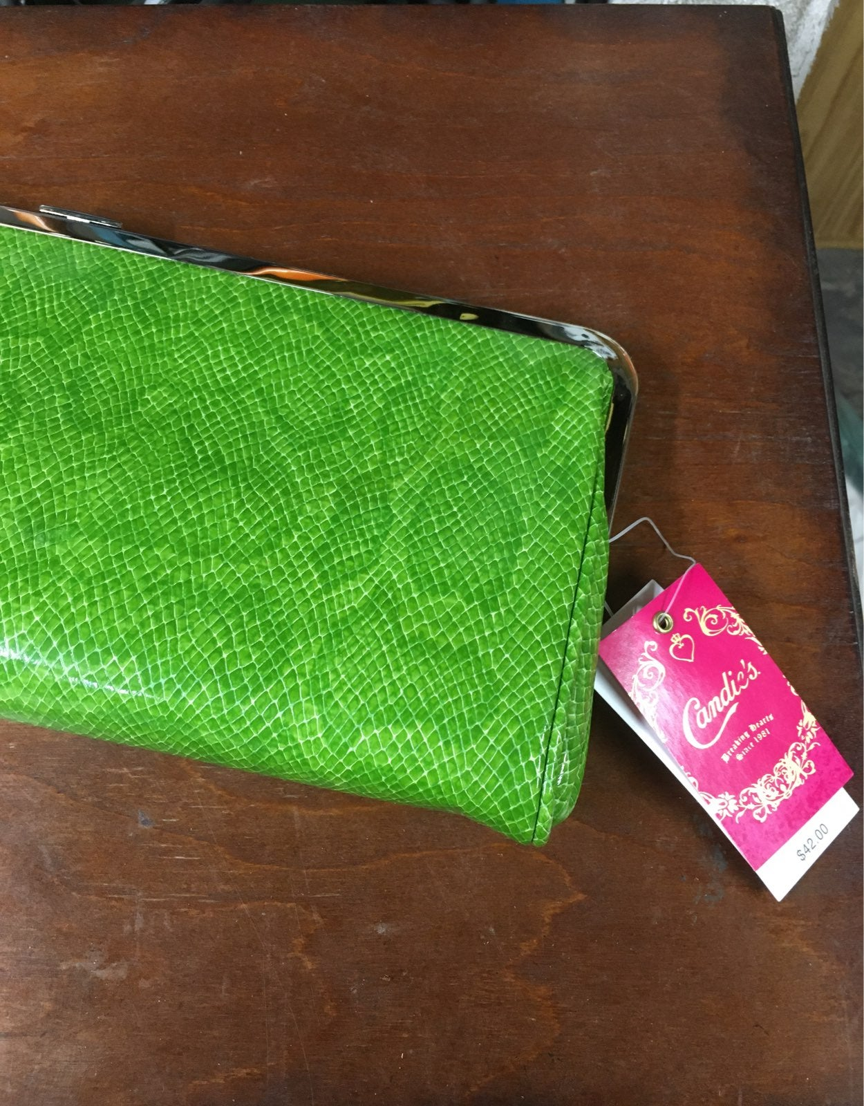 NEW Candies Large Green Snake Skin Walle